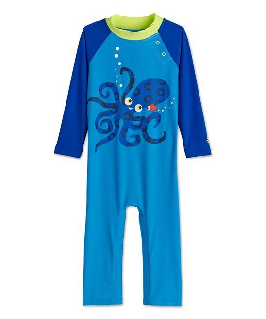 Blue Octo-Qtpie One-Piece Rashguard - Infant