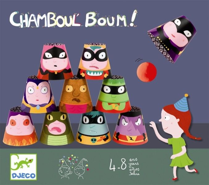 Djeco Partyspiel Chamboul Boum für Kindergeburtstag Dosen werfen - Bonuspunkte sammeln, Kauf auf Rechnung, DHL Blitzlieferung!