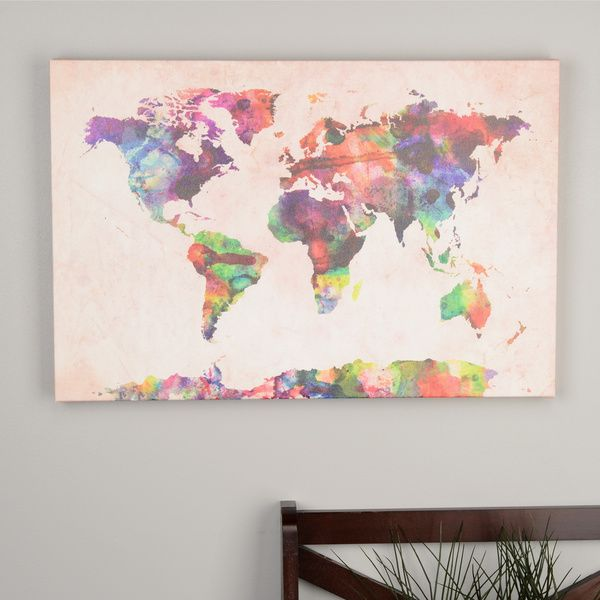 Michael tompsett urban watercolor world map canvas art office gallery wrapped canvas for less canvas homecanvas wallscanvas wall artmap gumiabroncs Gallery