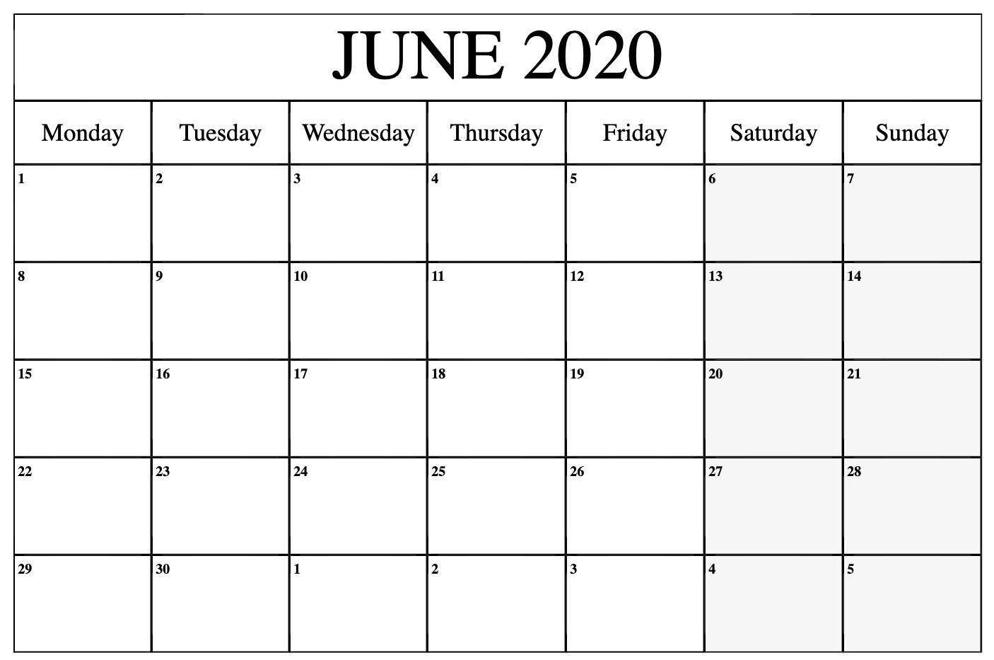 June 2020 Calendar Pdf Word Excel Template Printable Calendar