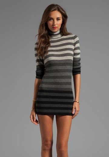 AUTUMN CASHMERE Striped Fitted Tissue Cashmere Turtleneck Tunic ...