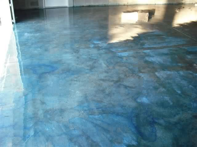 Anyone used concrete stain for their shop floor the for Garage ad stains