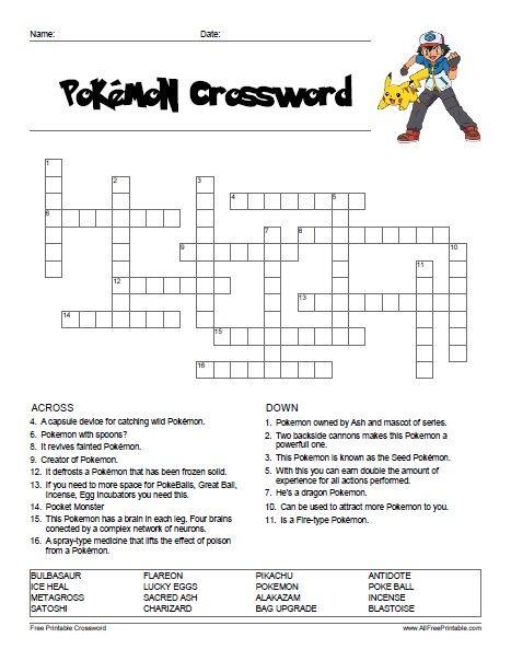 Word Search · Pokemon Crossword