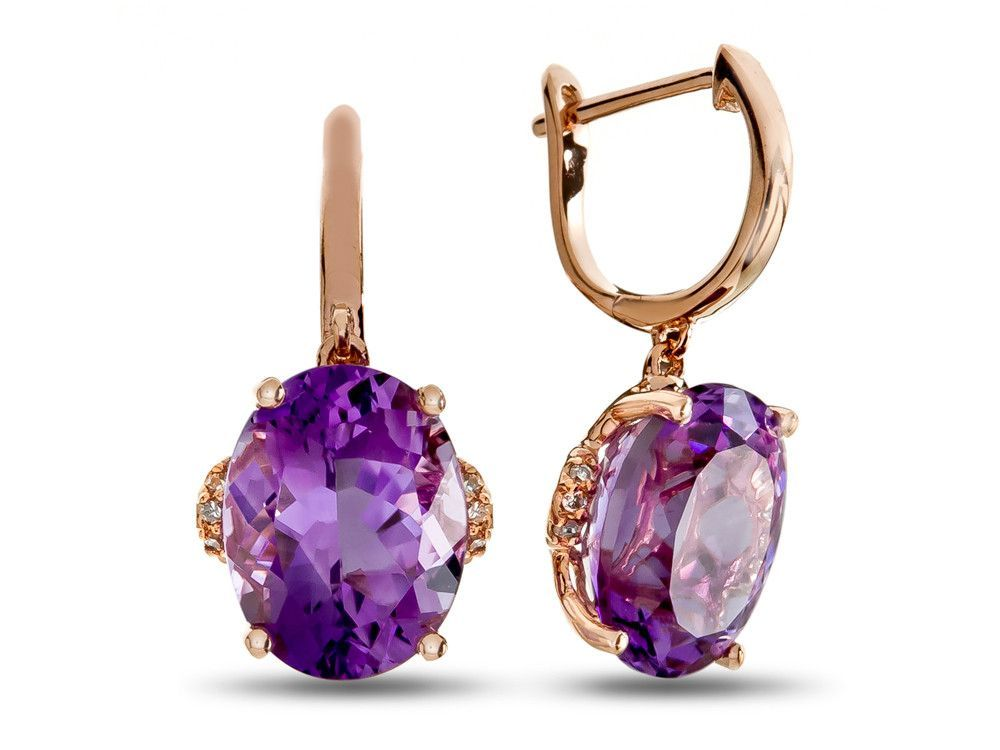 d06bc403ad699 LALI Classics 14k Rose Gold Amethyst Oval Earrings | Jewelry Design ...