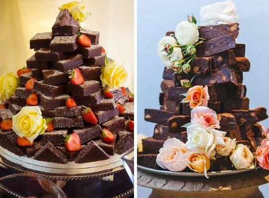 Food Brownies Pyramid Alternative Wedding Cake