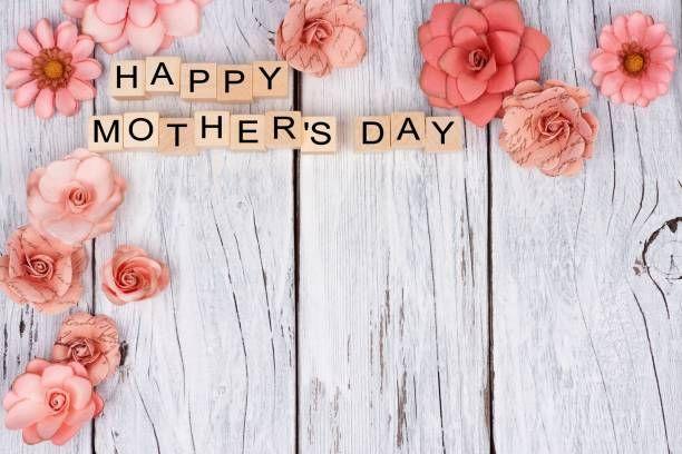 happy mothers day wooden blocks with flower corner border on white scream pinterest wooden. Black Bedroom Furniture Sets. Home Design Ideas