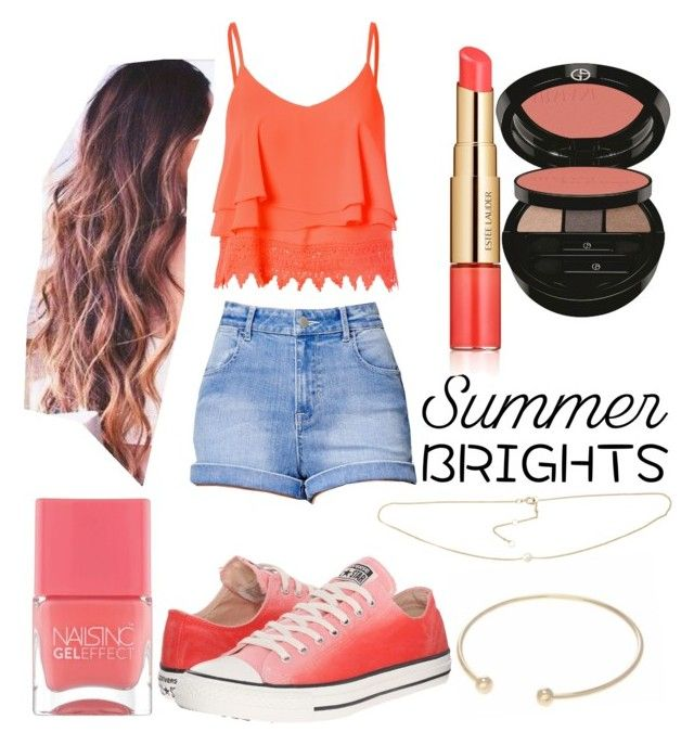 """""""Summer Brights"""" by wildfire-love ❤ liked on Polyvore featuring Lipsy, Glamorous, Kendall + Kylie, Converse, Nails Inc., Giorgio Armani and Estée Lauder"""
