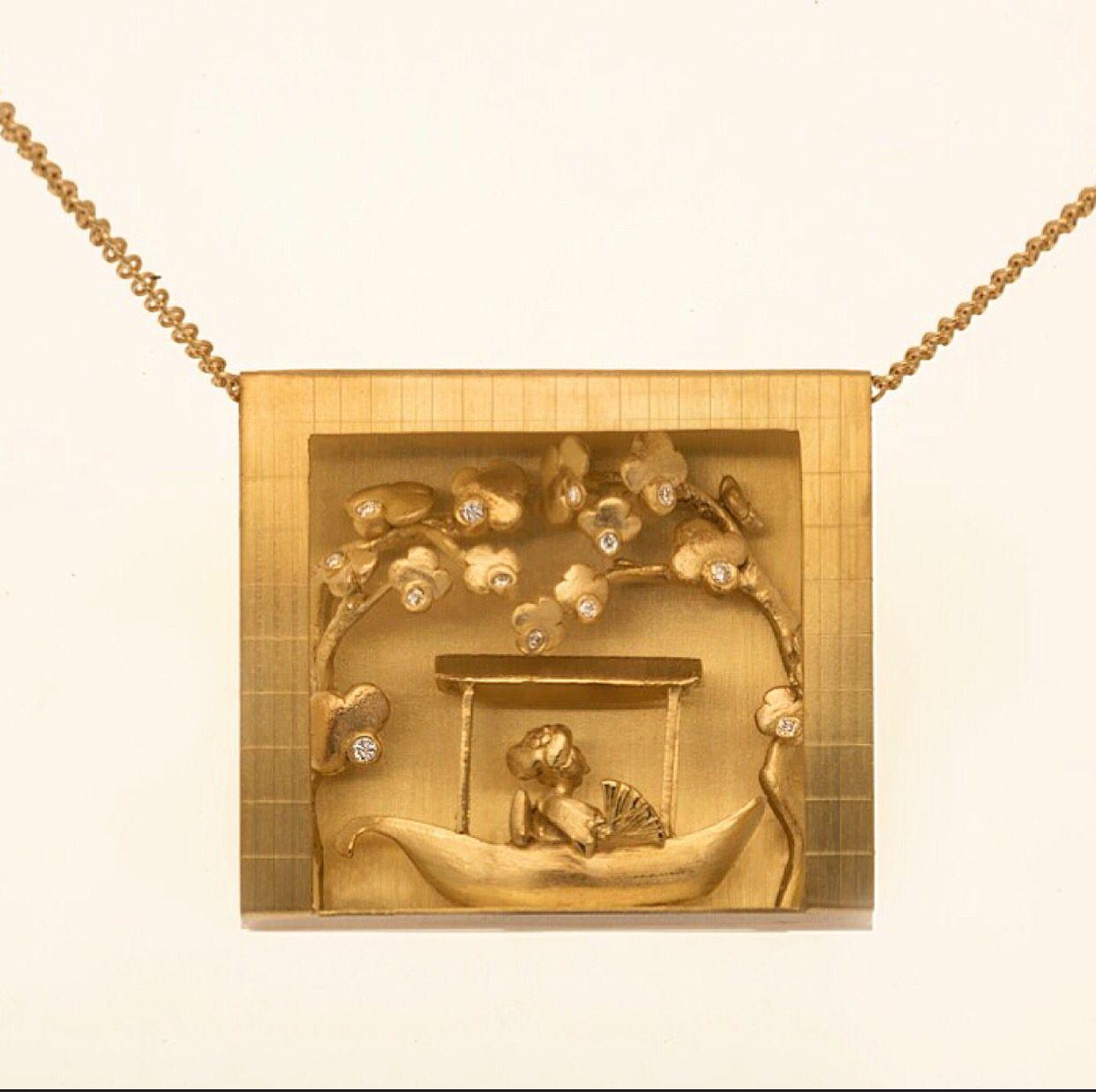 Madame butterfly  18k gold pandant
