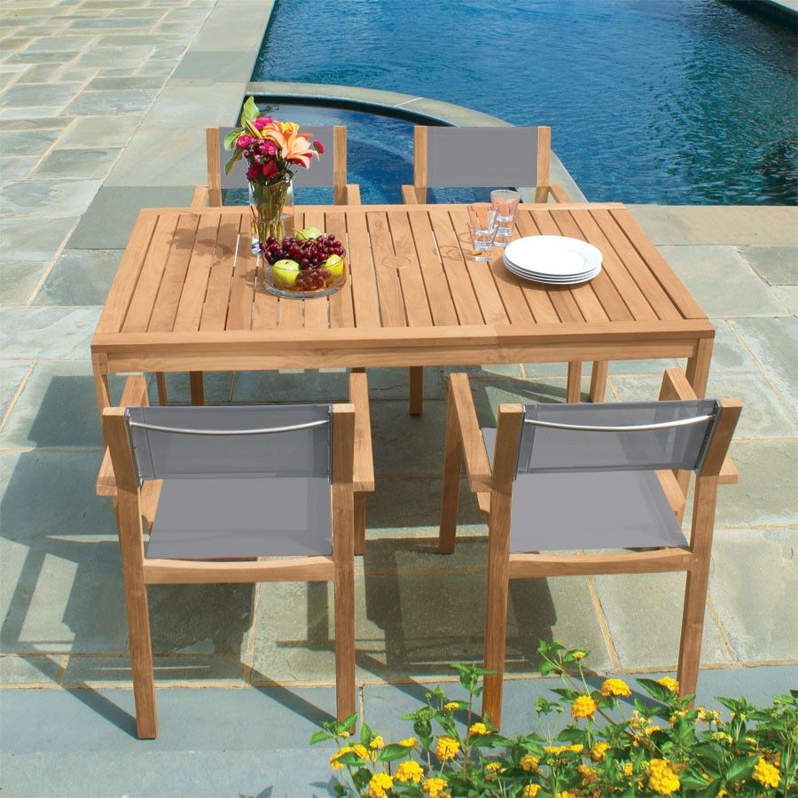 Teak Dining Tables Summit 5 Ft Rectangular Table Country Casual With Images Infinity Table Teak Dining Table Outdoor Furniture Sets