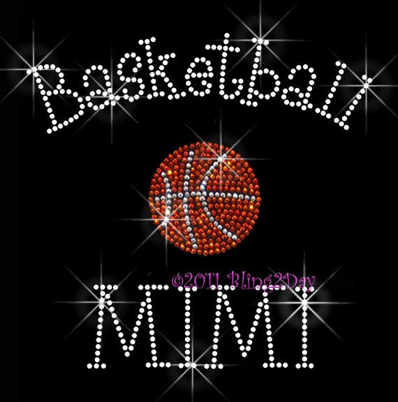New Rhinestone Iron on Transfer Hot Fix Bling Basketball Basketball Mom