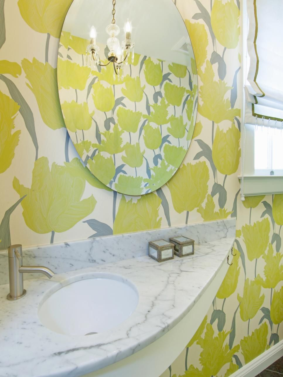 A Small Bathroom Is A Great Place To Try Out A Bold Wallpaper Such As The Yellow And Gray Floral Wallp Modern Shower Tile Grey Floral Wallpaper Small Bathroom