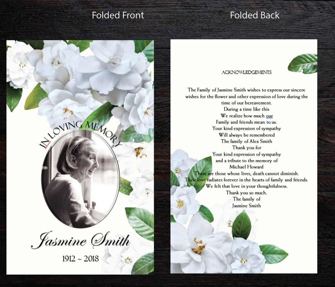 Ivory White Gardenias Printable Memorial Program Printable Etsy Funeral Program Template Funeral Programs Memorial Program