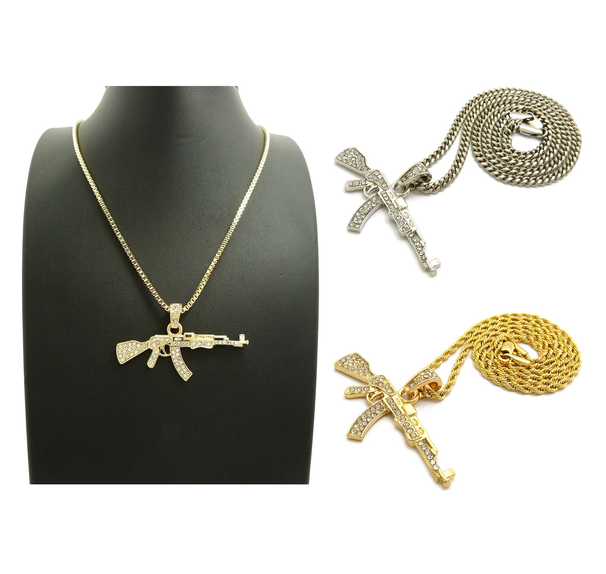 New iced out ak47 pendant 24 boxcubanrope chain hip hop iced out ak47 pendant hip hop necklaces aloadofball Images