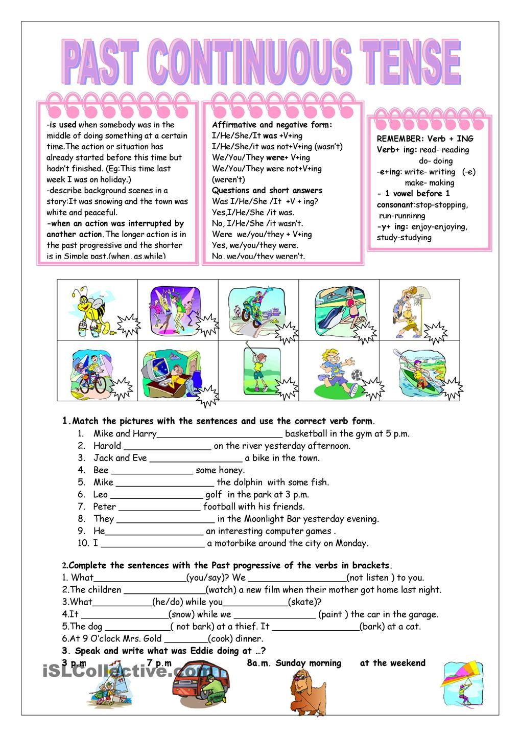 worksheet Past Tense Questions Worksheet past continuous tense grammar pinterest english worksheets esl