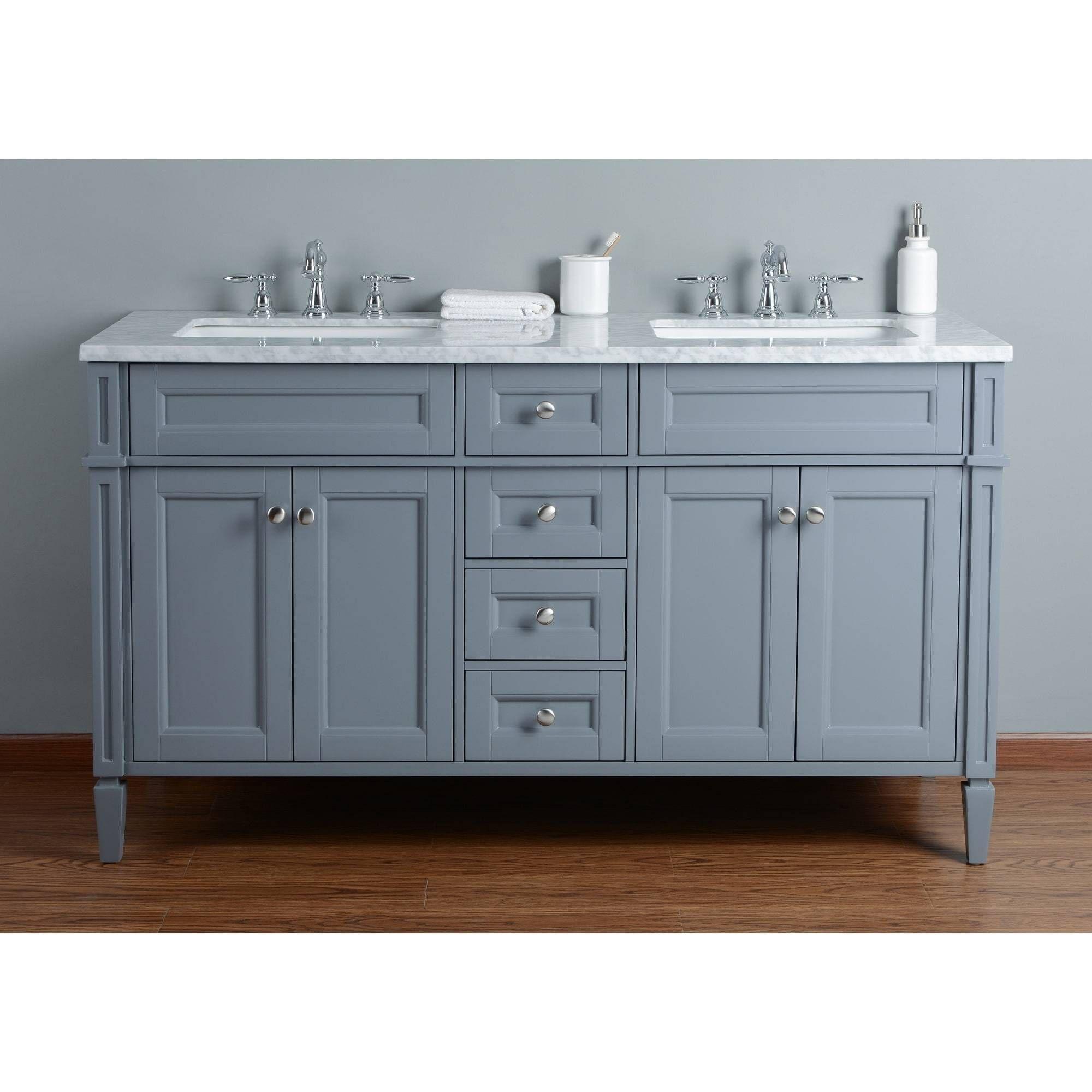 60 inch wide Grey Double Sink Transitional Bathroom Vanity ...