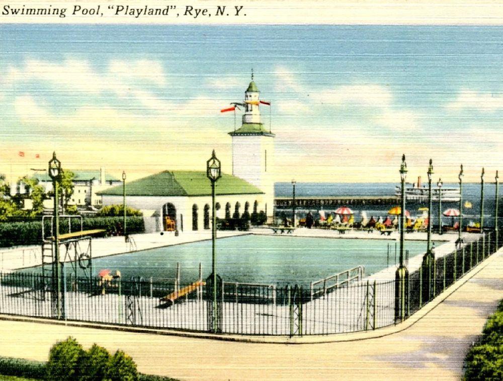 Rye Ny Playland Amusement Park Swimming Pool C1940s Vintage
