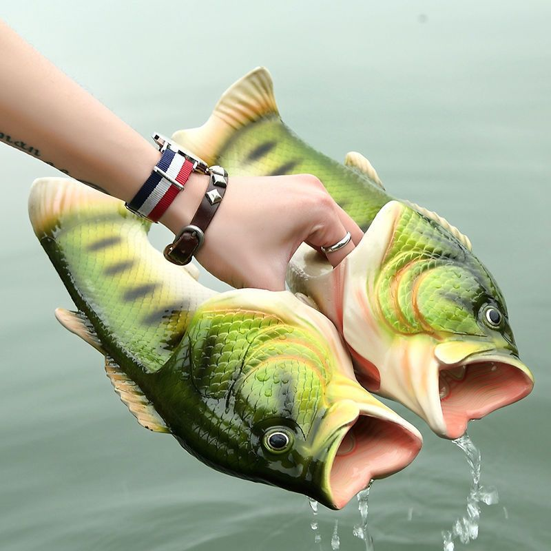 594c2d788739 Creative funny fish word couple slippers with flat beach slippers summer  personality fish men wear sandals