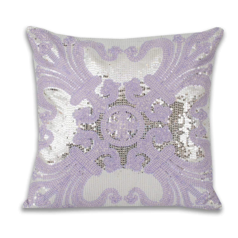 Ludo Sequin Pillow Purple Silver Pillows Bed Gray