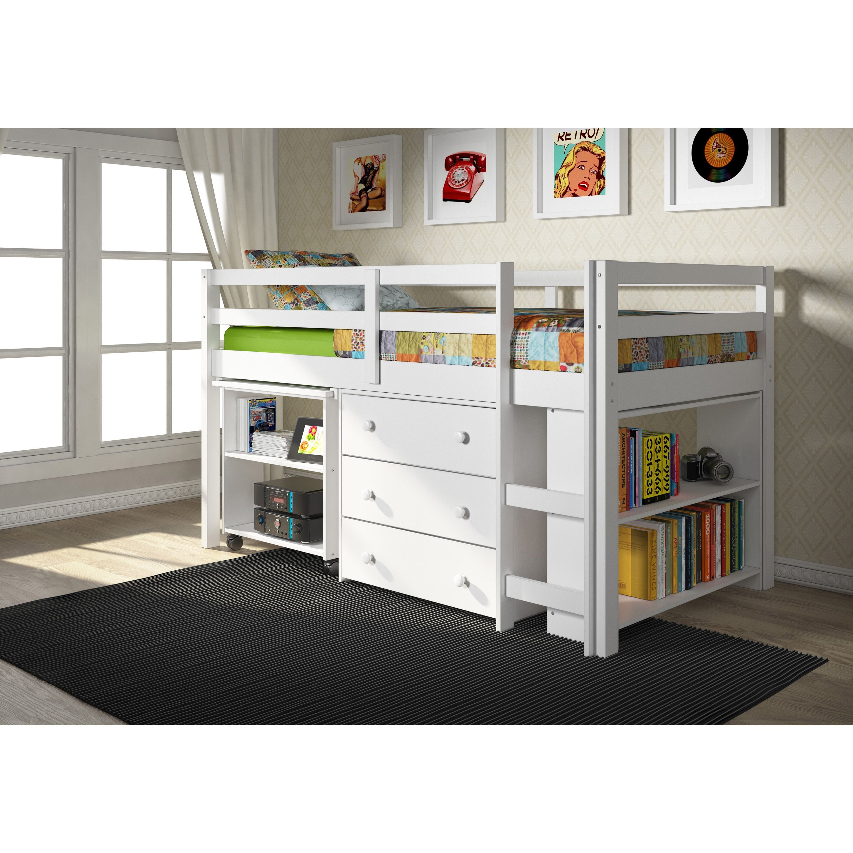 Junior loft bed with stairs  Donco Kids Low Study Brazilian Pine Loft Desk Twin Bed with Chest