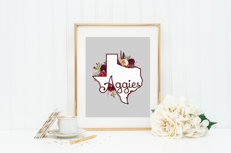 Texas Aggie Wall Art Print Floral Aggie 8x10 Print Texas A M Wall Art Aggie Home Decor Floral Texas Print Wall Art Prints California Wall Art City Prints