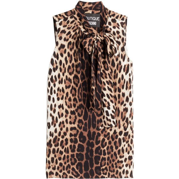 63b1555f064bb2 Boutique Moschino Leopard Print Sleeveless Blouse ( 235) ❤ liked on  Polyvore featuring tops