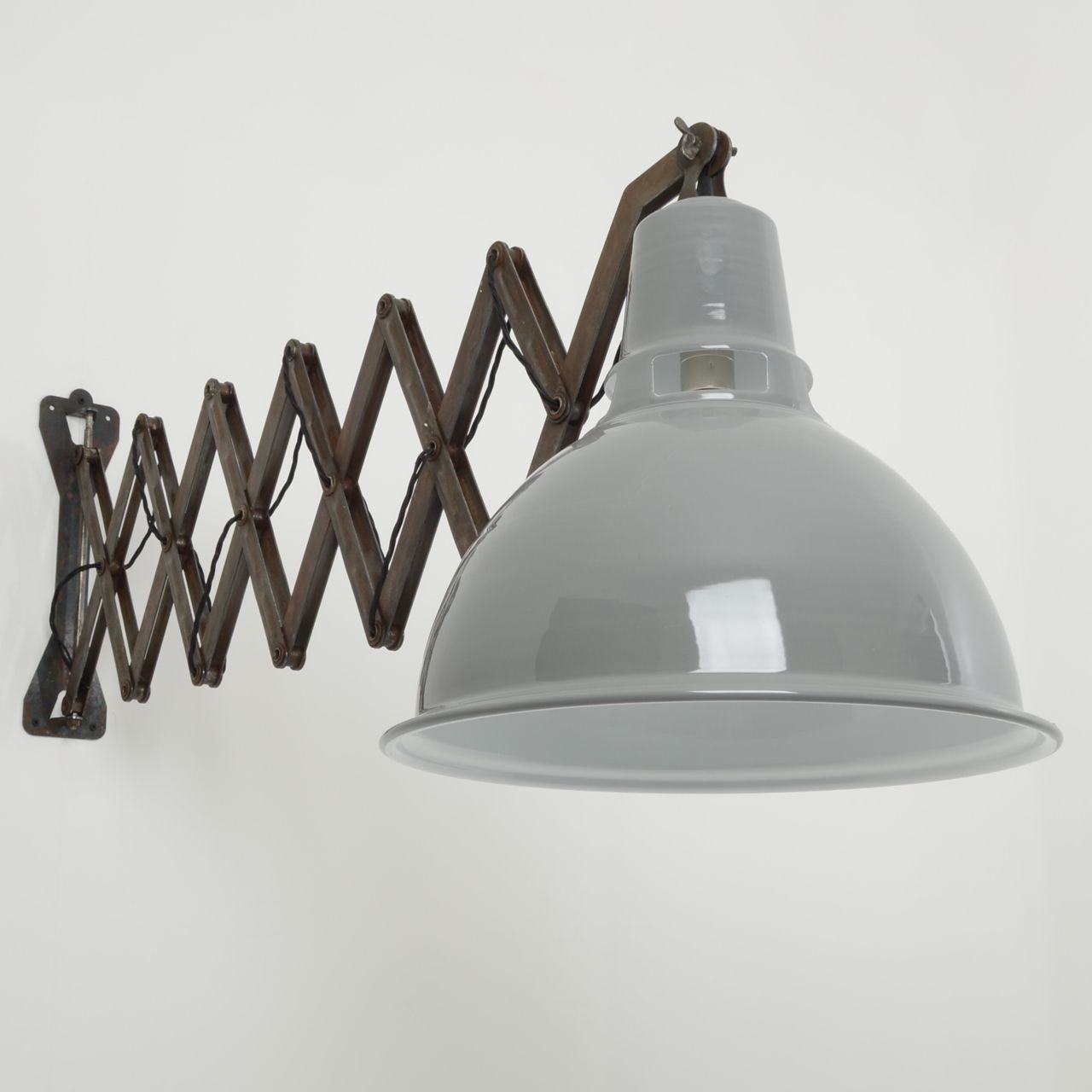 Wall Lamps Industrial : Trainspotters.co.uk Large extendable scissor wall lights. #industrial #lighting Industrial ...