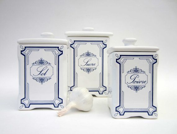 french kitchen canisters white ceramic shabby chic sugar