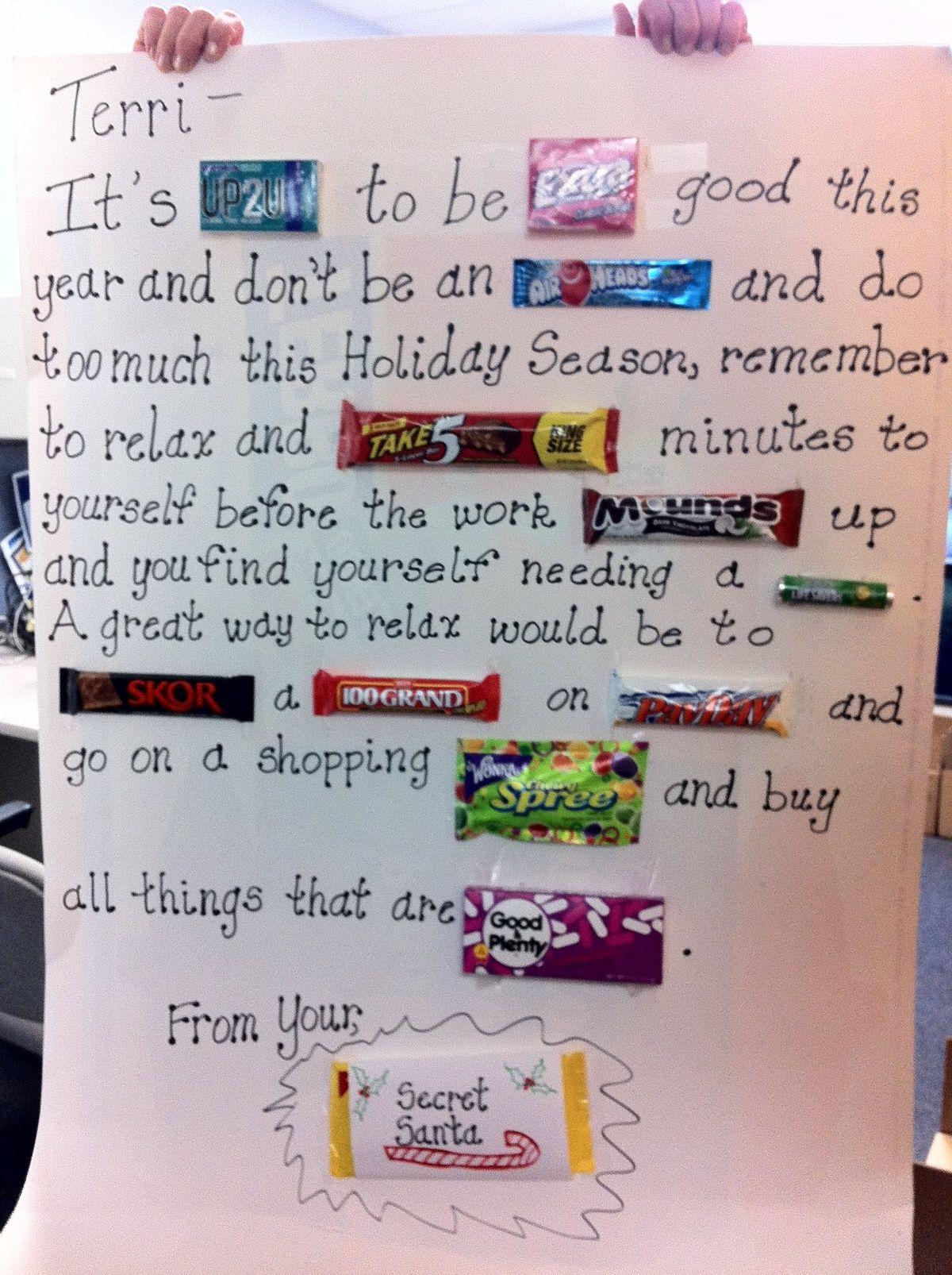 Candy bar letter for Secret Santa gift. | Crafts/Hacks