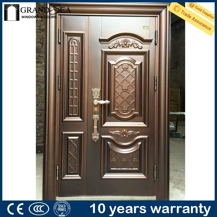Elegant design different color steel grill door design for for Main two door designs