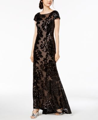 ccf0e5b6 Sheer Sequin Gown in 2019   Products   Sequin gown, Black sequin ...