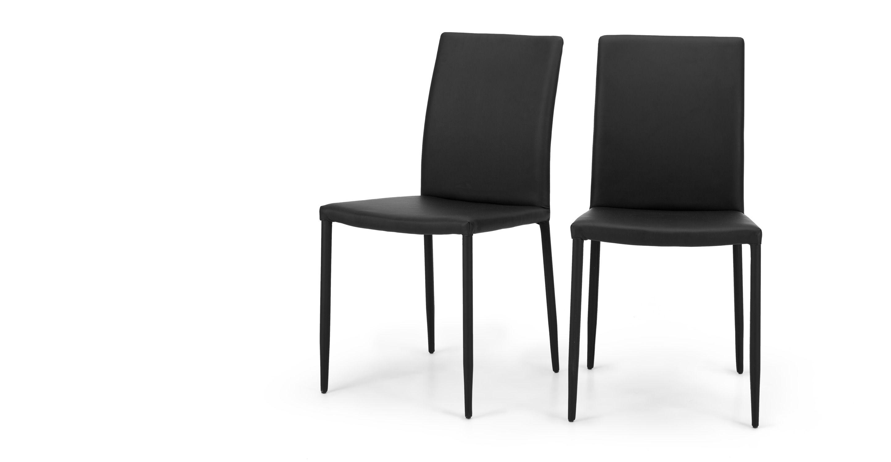 2 X Braga Esszimmerstühle Leder In Onyxschwarz Madecom Jetzt