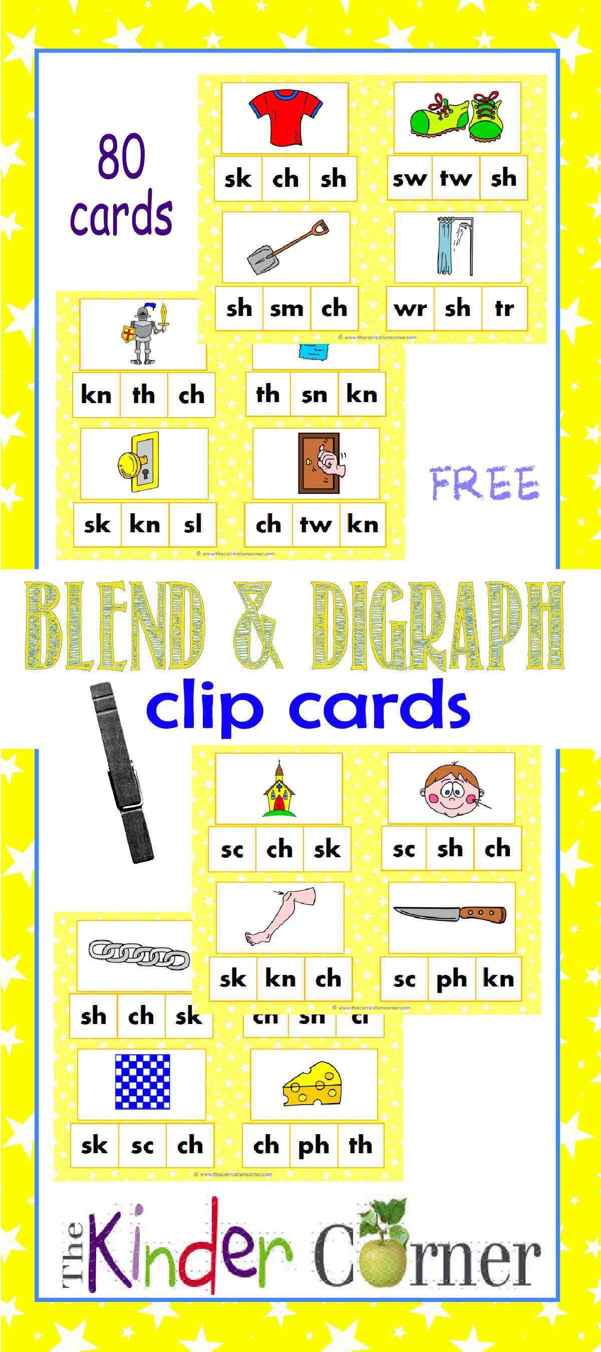 Blends Amp Digraphs Clip Cards