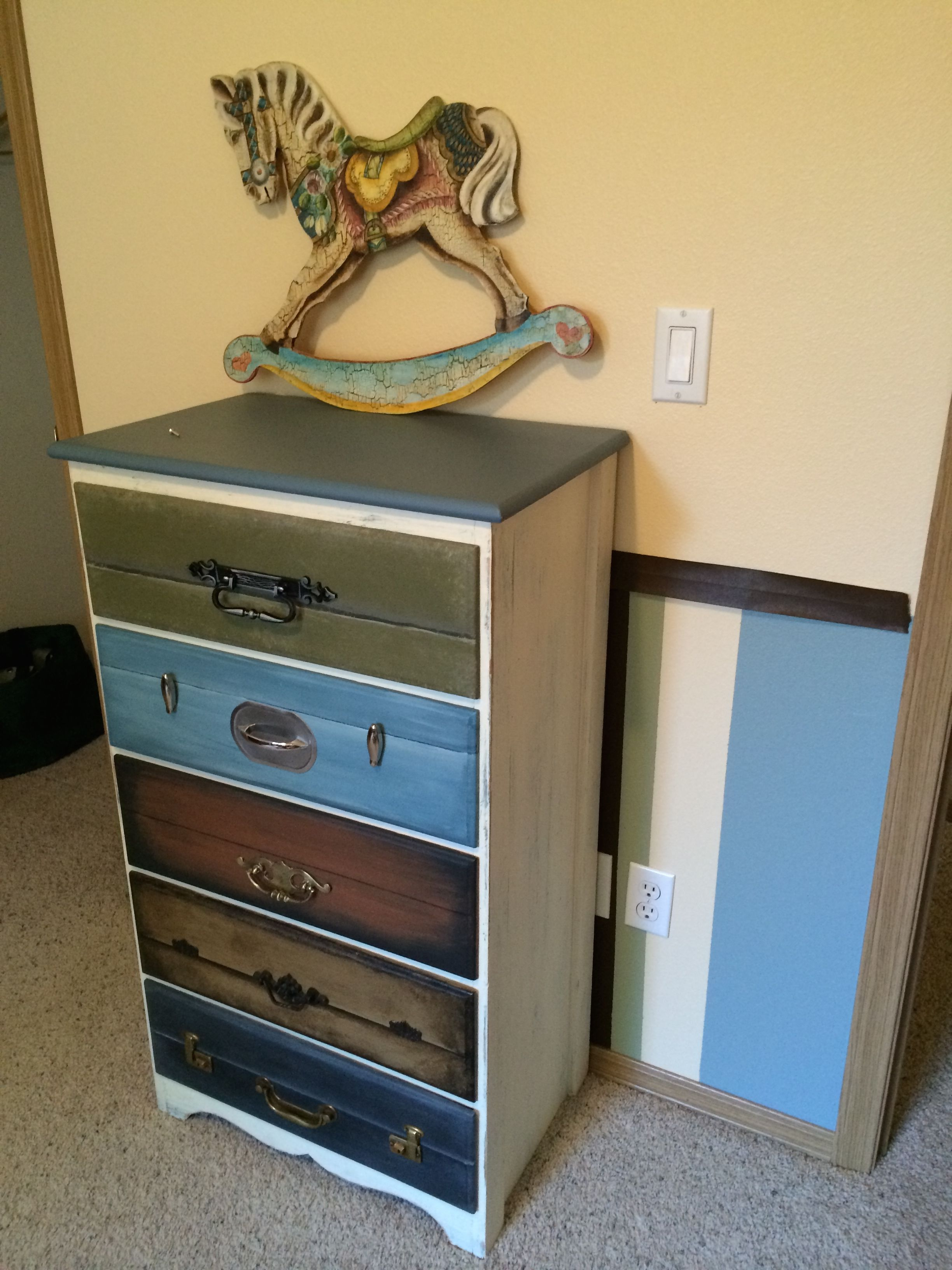 Dresser Painted To Look Like Stacked Vintage Suitcases Deco