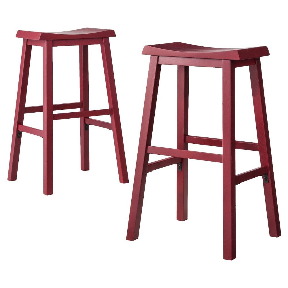 Ton Saddle Seat 29 Barstool Red Set Of 2 Threshold