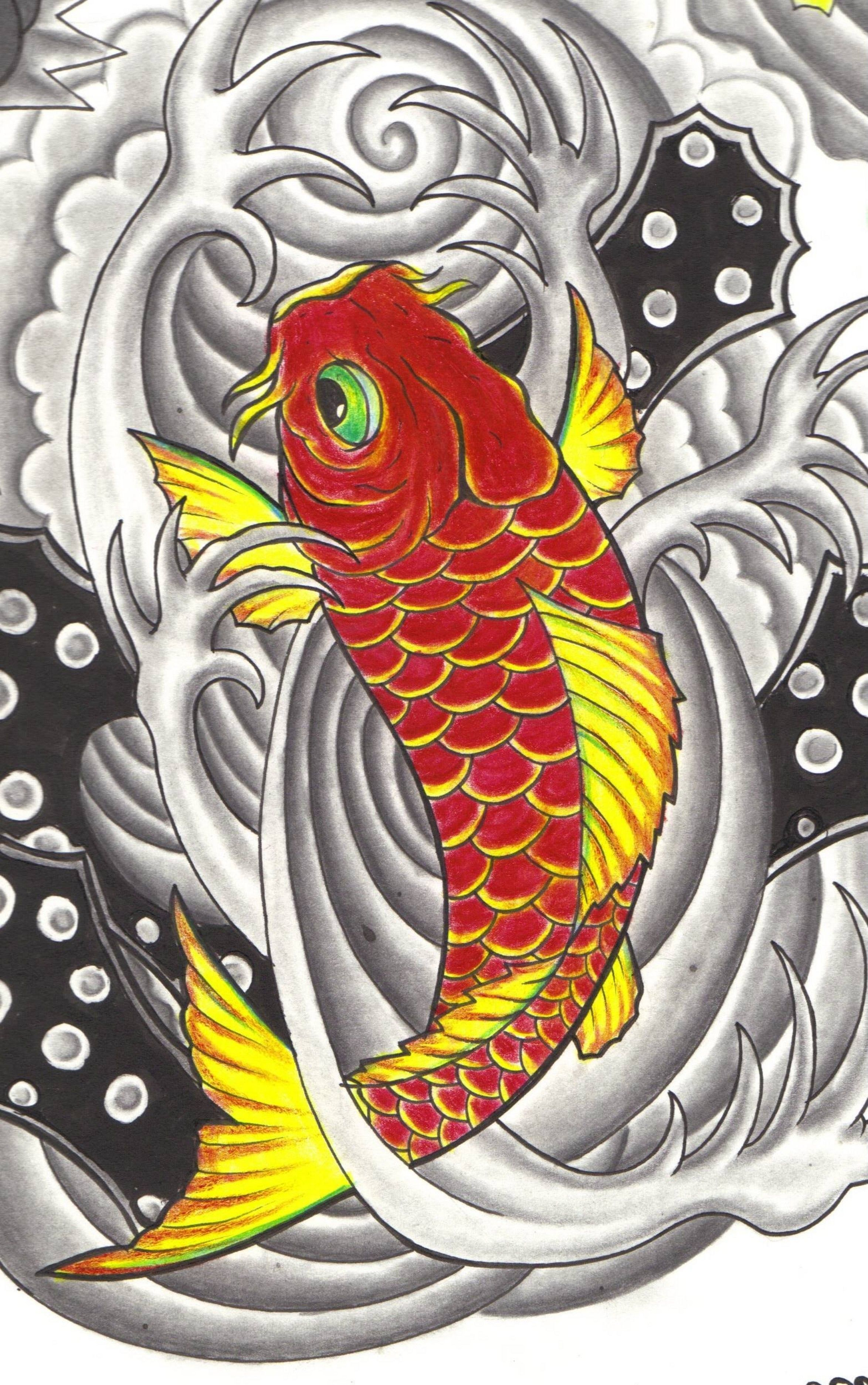 Japanese Art Koi Fish | Drawing and Coloring for Kids