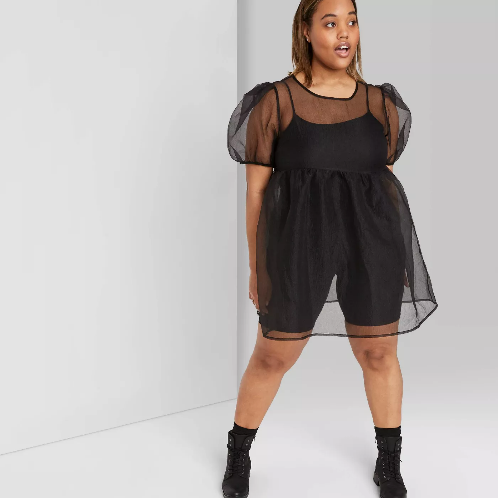 Women S Short Sleeve Square Neck Sheer Dress Wild Fable Black Target Sheer Dress Women S Plus Size Shorts Short Sleeve Mini Dress [ 1000 x 1000 Pixel ]