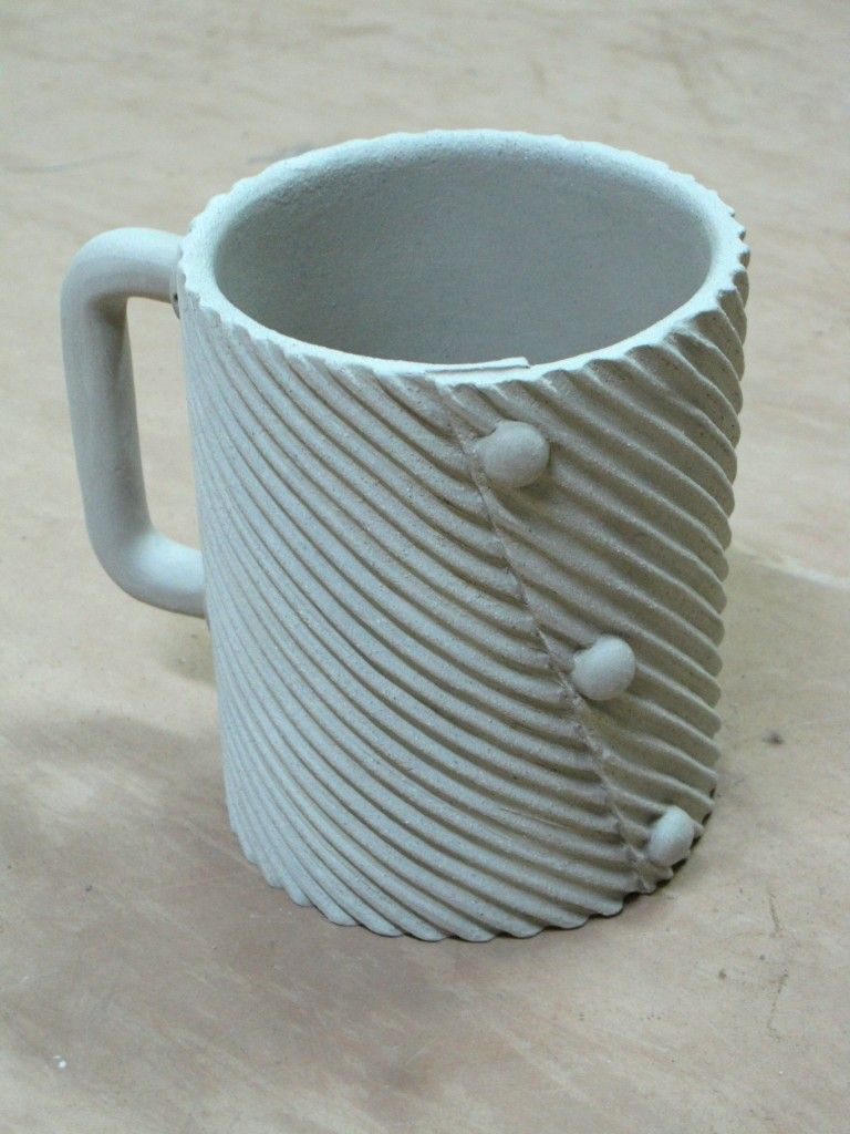 Slab mug love the inset dots and industrial handle for Clay pottery designs