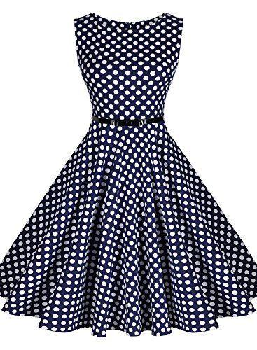 Miusol® Damen Sommerkleid Ärmellos 1950er Retro Polka Dots ...