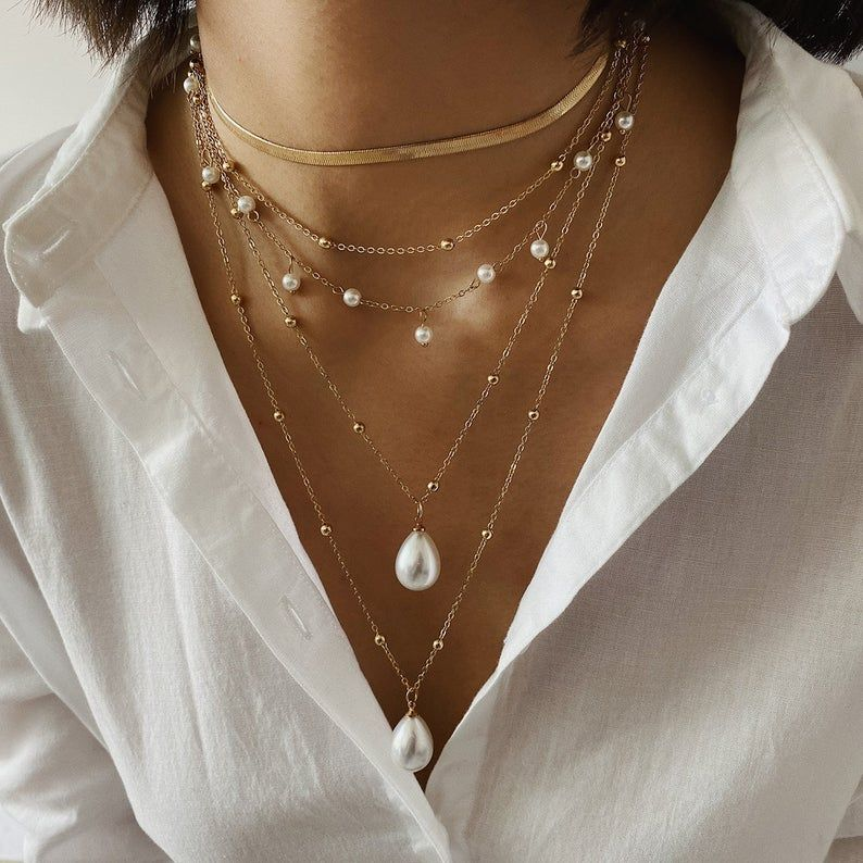 Statement Bold Chunky White Faux Pearl Long V Shape Necklace and Earrings Set