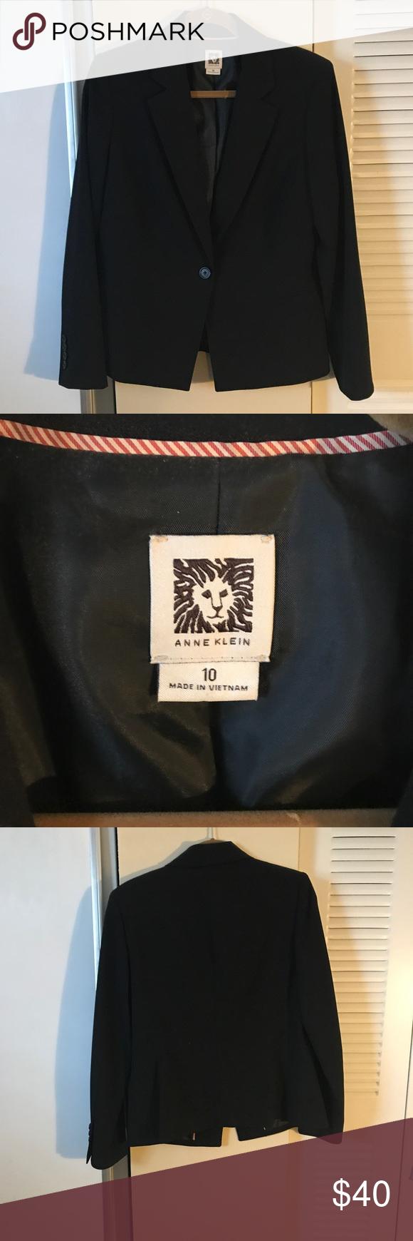 Black one button blazer brand new Anne Klein black womens blazer, never worn, perfect condition Anne Klein Jackets & Coats Blazers