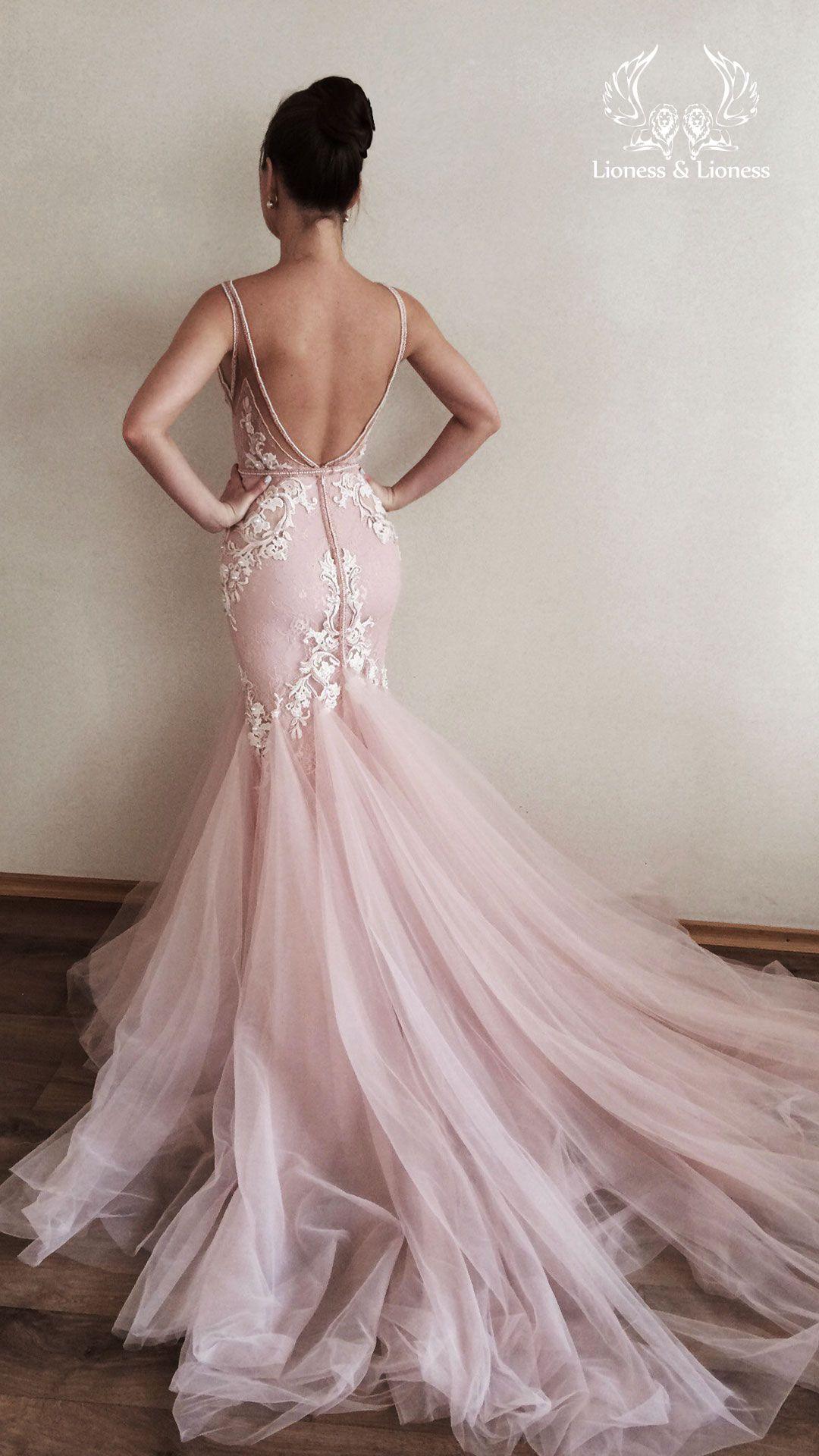 Pink Blush Lace Wedding Dress Mermaid Fluffy Removable Tulle Etsy Blush Wedding Dress Lace Pink Wedding Dresses Lace Mermaid Wedding Dress