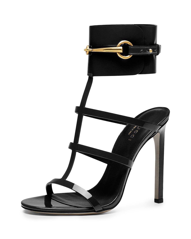ceccd6551740 Ursula Patent Ankle-Wrap Cage Sandal