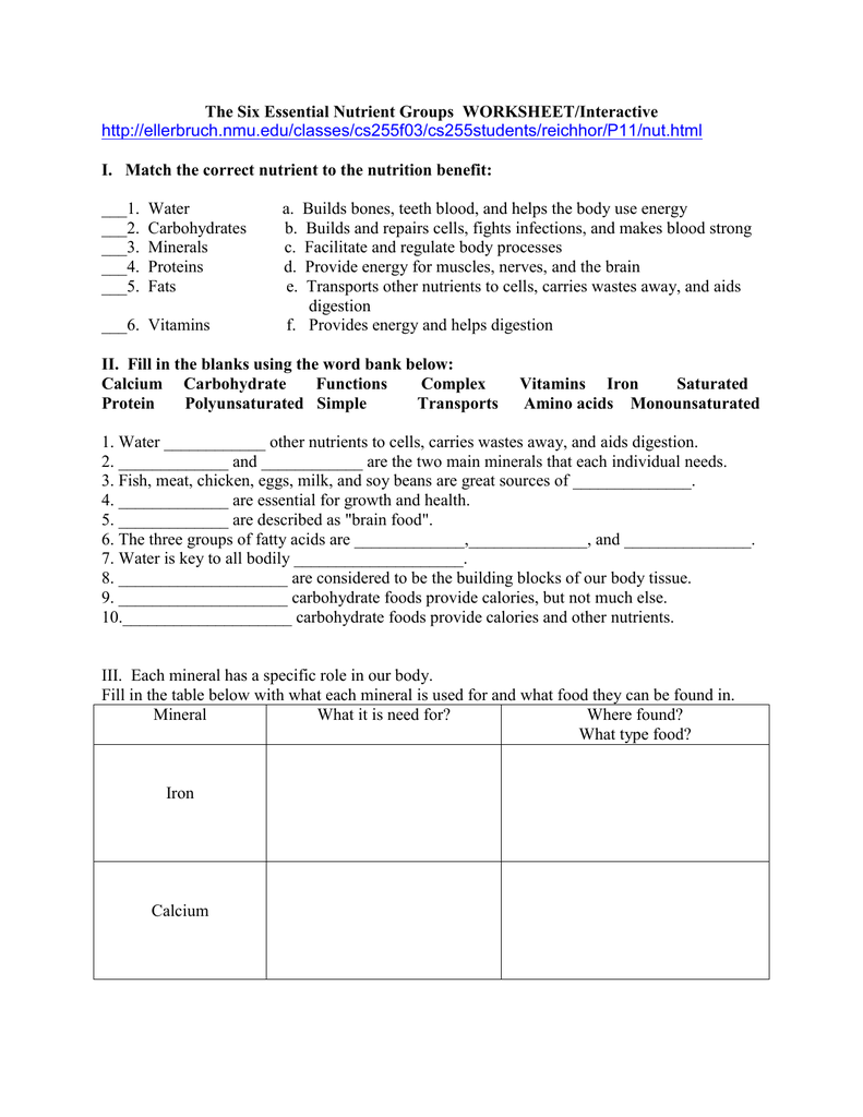 6 Essential Nutrients Worksheets Family And Consumer Science Nutrients Lesson Health Education Lessons