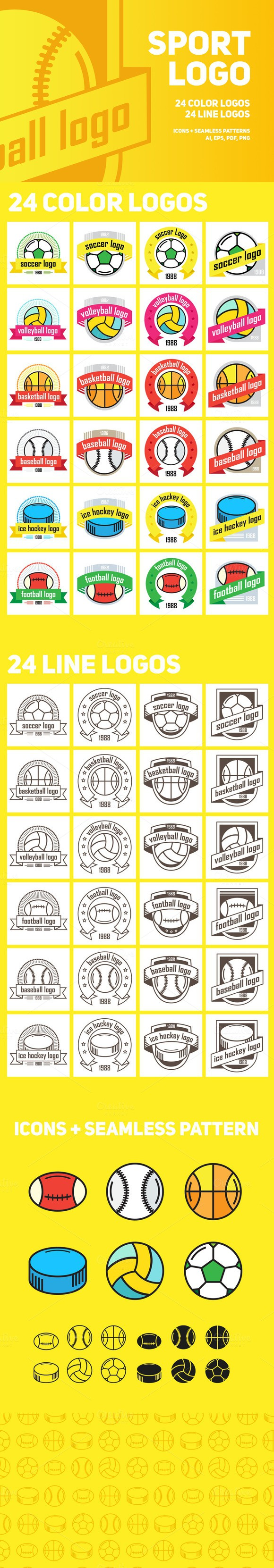 Sport logo | 48 color and line logos. Sport Icons. $9.00