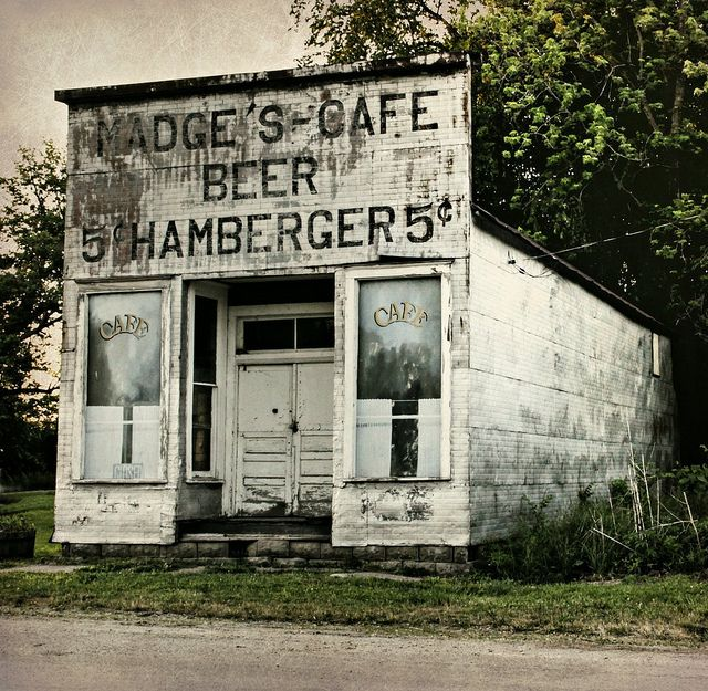 """Abandoned Roadside Cafe"" -- [*Madge's Cafe* in Millerton, Wayne County, Iowa]~[Photograph by Lights in the Old Farmhouse (Away) (Shari) - May 20 2012 - Millerton, Iowa - US]'h4d-277.2013'"