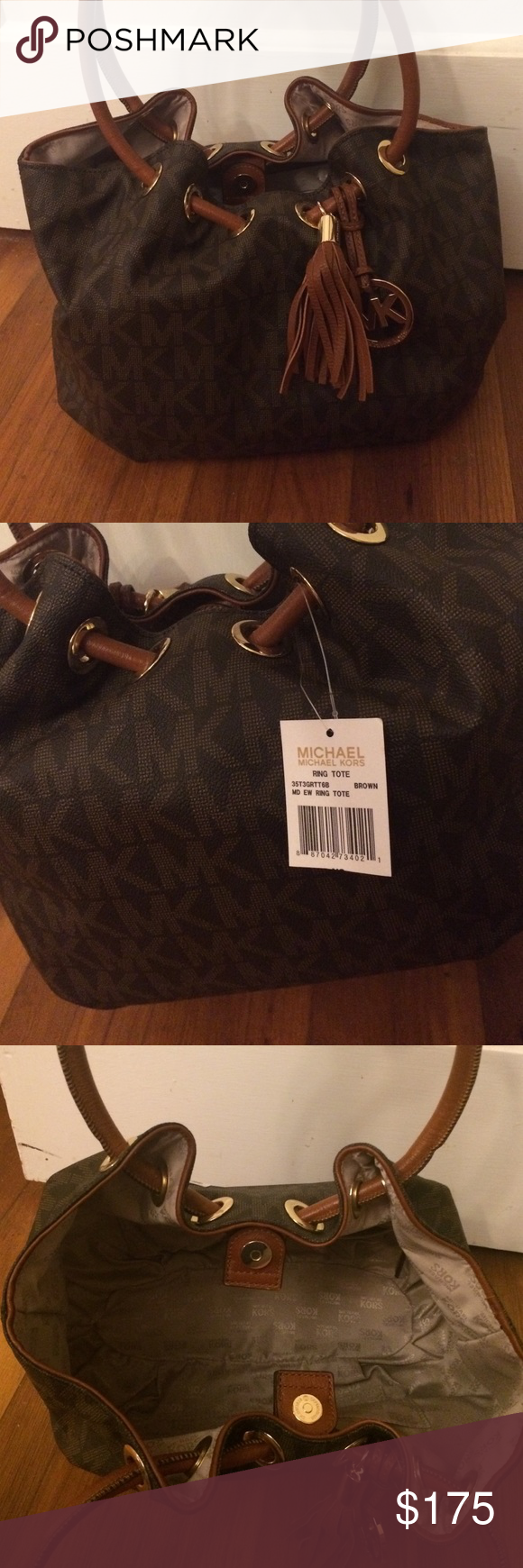 NWT Michael Kors Brown Ring Tote Brand new with tags, Brown Michael Kors Ring Tote. Perfect condition, received as a gift and could not return without receipt. Michael Kors Bags Shoulder Bags