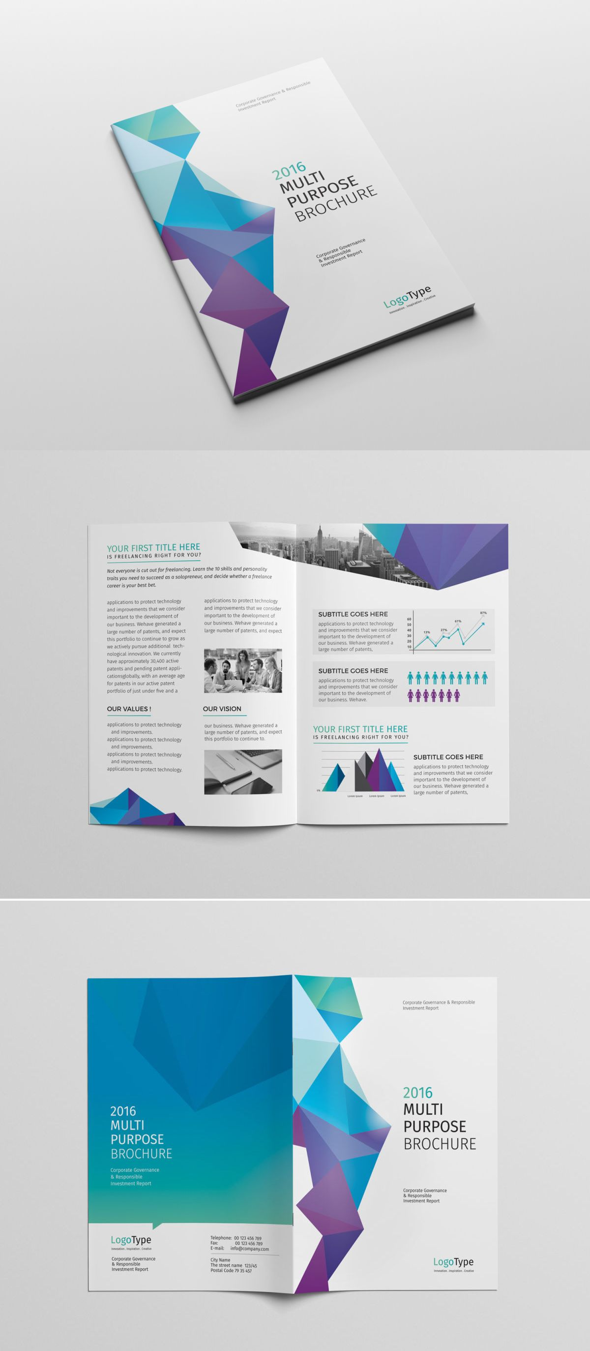 abstract bi fold brochure template indd psd unlimited downloads