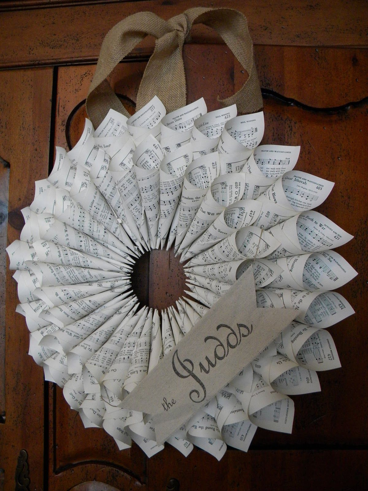 paper cone wreath: you can make with sheet music or book pages ...