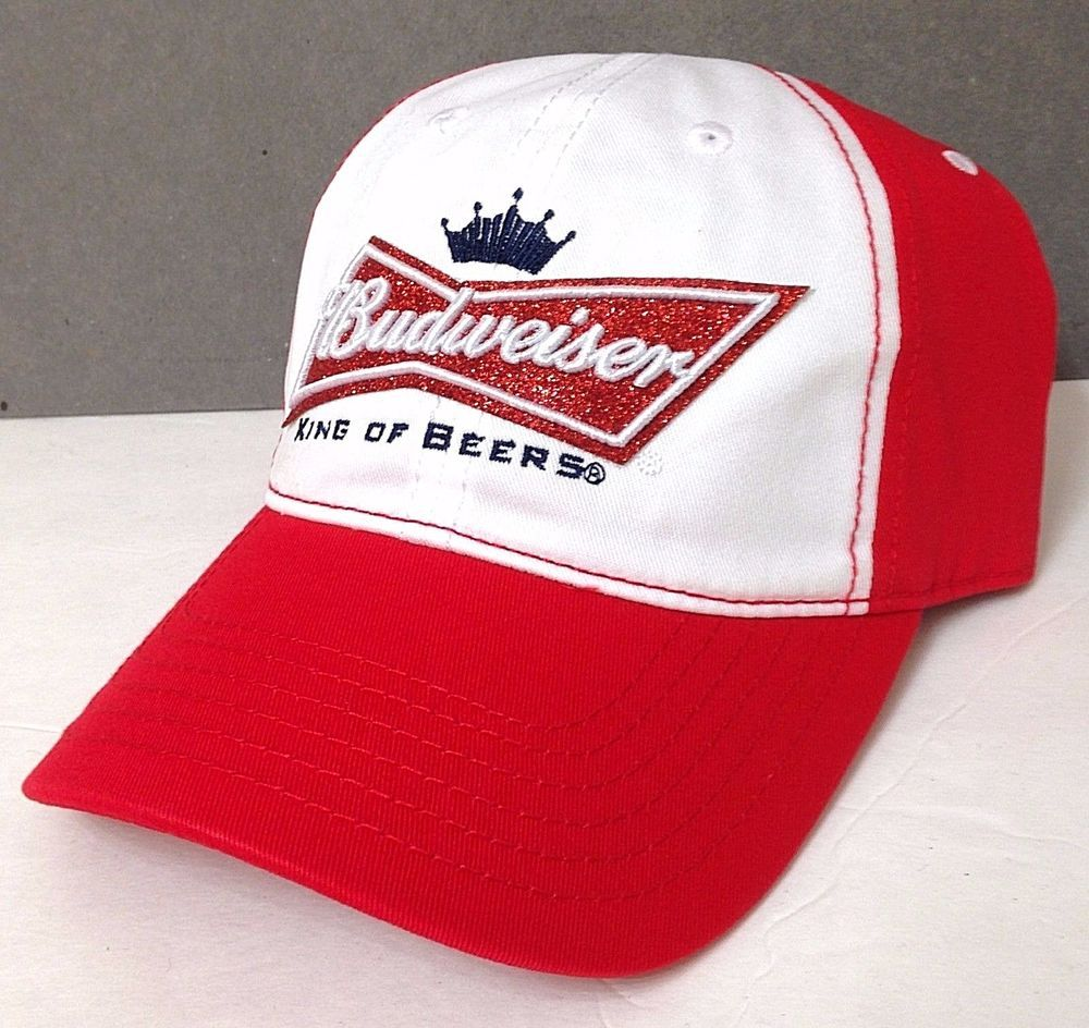 Ladies Womens GLITTER SPARKLY BUDWEISER HAT Relaxed-Fit King-Of-Beers  White Red  Budweiser  BaseballCap fd140a743