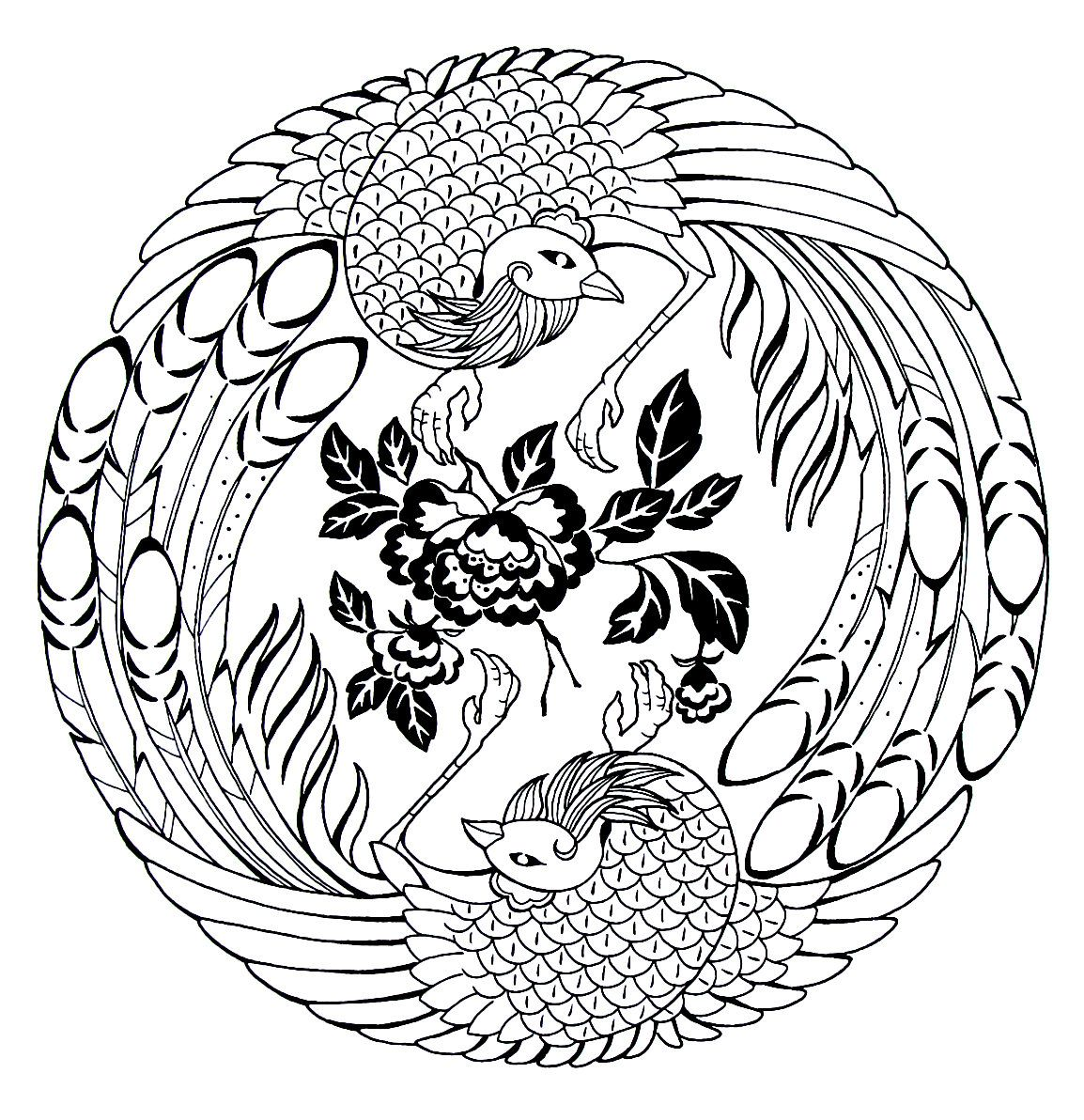Japanese Phoenix And Peonies Coloring Book Printable Page Designs Coloring Books Peacock Coloring Pages Coloring Books